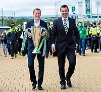 24/05/15 SCOTTISH PREMIERSHIP<br /> CELTIC v INVERNESS CT<br /> CELTIC PARK - GLASGOW<br /> Celtic manager Ronny Deila (right) joins Harald Brattbakk as the Scottish Premiership trophy is carried into Celtic Park