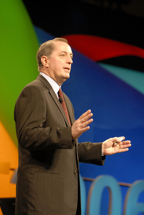 Austin, TX May 3, 2006:  Intel Corporation CEO Paul Otellini talks about his company's plans to help erase the 'digital divide' in third-world countries at the week-long World Congress of Information Technology (WCIT) conference in Austin.  The bi-annual conference draws high tech leaders from around the world. <br /> ©Bob Daemmrich