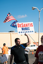 November 9, 2018 - Fort Lauderdale, Florida, United States - A protester in support of Desantis and Gillum gather outside the Supervisor of Elections office in Broward County, Florida, where a recount is taking place for the Governor and Senator elections. (Credit Image: © Emilee Mcgovern/SOPA Images via ZUMA Wire)