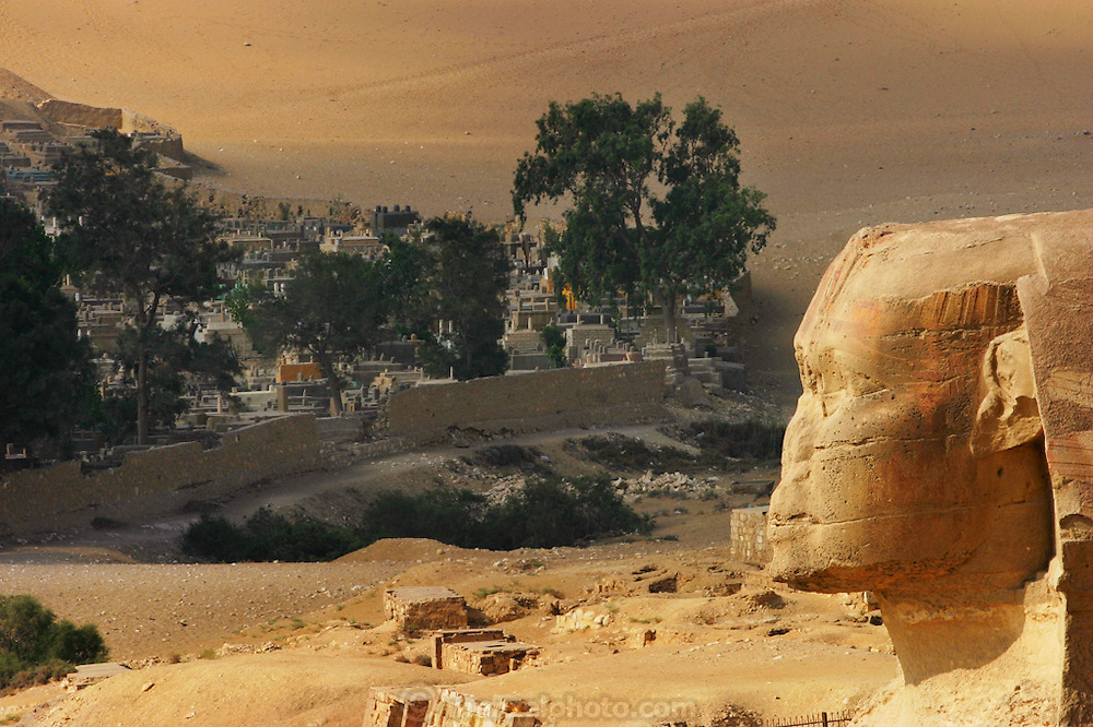 The visage of the Great Sphinx with a complex of rock cut tombs in the background (a cemetery).  Giza Pyramid complex and cemetery, outside Cairo, Egypt.
