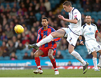 Photo: Kevin Poolman.<br />Crystal Palace v Colchester United. Coca Cola Championship. 09/12/2006. Colchester's Greg Halford clears the ball from Jobi McAnuff of Palace.