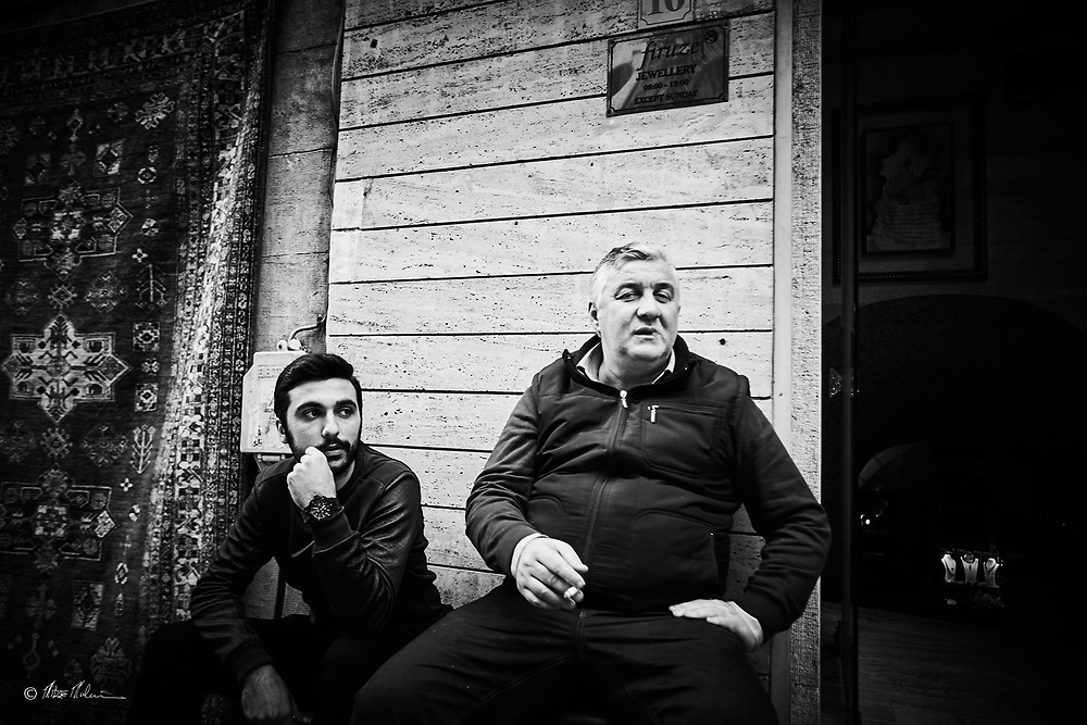 Street photography Istanbul Turkey / Jeweller outside his shop. Travel photography of Mike Mulcaire photographer