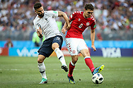 Olivier GIROUD of France, Andreas CHRISTENSEN of Denmark during the 2018 FIFA World Cup Russia, Group C football match between Denmark and France on June 26, 2018 at Luzhniki Stadium in Moscow, Russia - Photo Thiago Bernardes / FramePhoto / ProSportsImages / DPPI