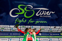 Overall sprint classification winner Luka Mezgec (SLO) of Mitchelton - Scott celebrates during trophy ceremony after the 5th Stage of 26th Tour of Slovenia 2019 cycling race between Trebnje and Novo mesto (167,5 km), on June 23, 2019 in Slovenia. Photo by Vid Ponikvar / Sportida