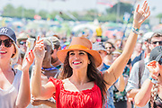 Fans watch in the heat as Fantastic Negrito plays the Other Stage - The 2019 Glastonbury Festival, Worthy Farm, Glastonbury.