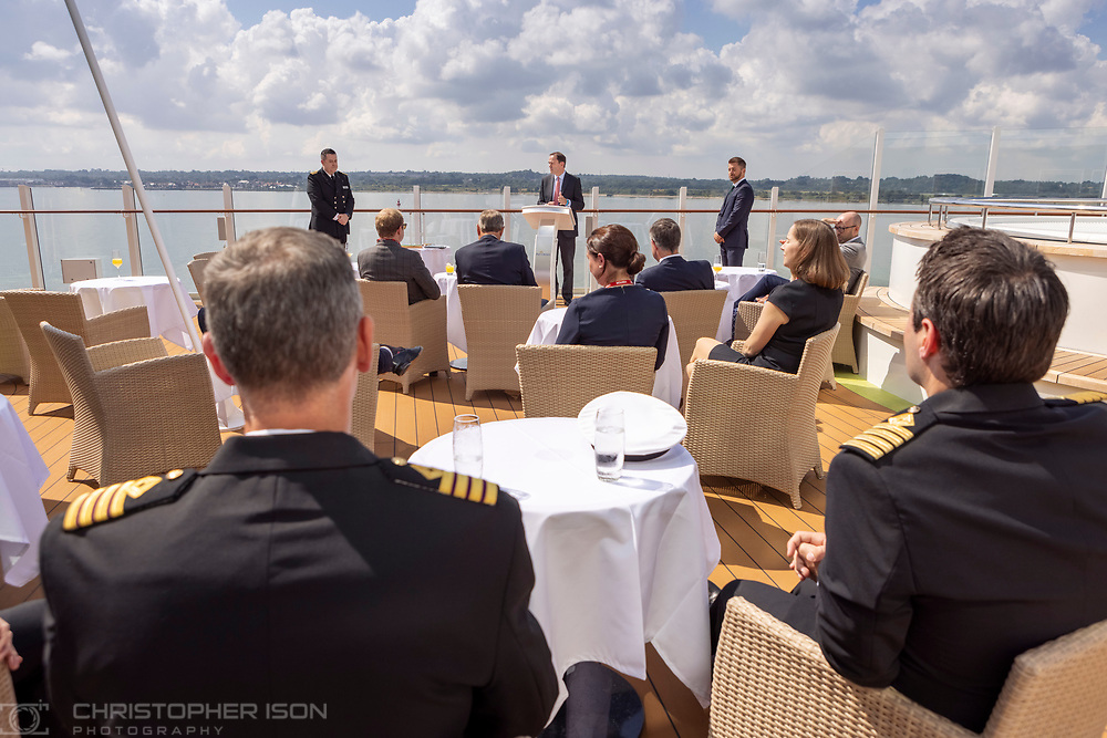 """P&O Cruises honours home port of Southampton in plaque exchange and blessing ceremony:<br /> <br /> <br /> P&O Cruises honoured the City of Southampton today in a traditional plaque exchange ceremony on board its newest ship Iona attended by many of the region's dignitaries.<br /> <br /> Southampton has been the home port for P&O Cruises for many decades and the company expressed pride in its association with the city in an event which was the tenth of its kind this century. <br /> <br /> Joining Carnival UK president Simon Palethorpe and P&O Cruises President Paul Ludlow were Deputy Lieutenant Tom Floyd; High Sheriff of Hampshire Phillip Sykes; Mayor of Southampton Councillor Alex Houghton; MP for Southampton & Itchen Royston Smith; Southampton City Council Leader Councillor Dan Fitzhenry and ABP Director of Port Services Alastair Welch.<br /> <br /> P&O Cruises President Paul Ludlow said: <br /> """"This is a very special day for us, for Iona and for Southampton. P&O Cruises, as well as our sister brands of Cunard and Princess Cruises, are a vital part of the economy and community in the region. Each time a ship comes into port it contributes over £2million to the local economy – from the taxi drivers, stevedores and hundreds of local producers, suppliers and growers. The last 18 months have had a devastating impact upon them all and we are now so proud and pleased that once again we have two ships sailing to support this network of regional businesses.<br /> <br /> """"Iona is Britain's largest, greenest and most innovative ship – wholly powered by liquefied natural gas which virtually eliminates air emissions. There are 30 places to eat and drink and the ship is designed to provide the ultimate in relaxation, contemporary entertainment and be the source of restorative and individual holidays.""""<br /> <br /> Iona's Master, Captain Wesley Dunlop exchanged plaques with Mayor Alex Houghton and with ABP and said: """"These exchanges are a visible sign of an important connectio"""