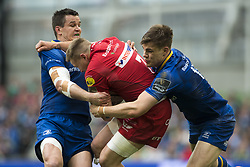 May 27, 2018 - Dublin, Ireland - James Davies of Scarlets tackled by Johnny Sexton and Garry Ringrose of Leinster during the Guinness PRO14 Final match between Leinster Rugby and Scarlets at Aviva Stadium in Dublin, Ireland on May 26, 2018  (Credit Image: © Andrew Surma/NurPhoto via ZUMA Press)