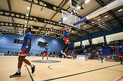 Justin Gray of Bristol Flyers warms up with a dunk - Photo mandatory by-line: Arron Gent/JMP - 28/04/2019 - BASKETBALL - Surrey Sports Park - Guildford, England - Surrey Scorchers v Bristol Flyers - British Basketball League Championship