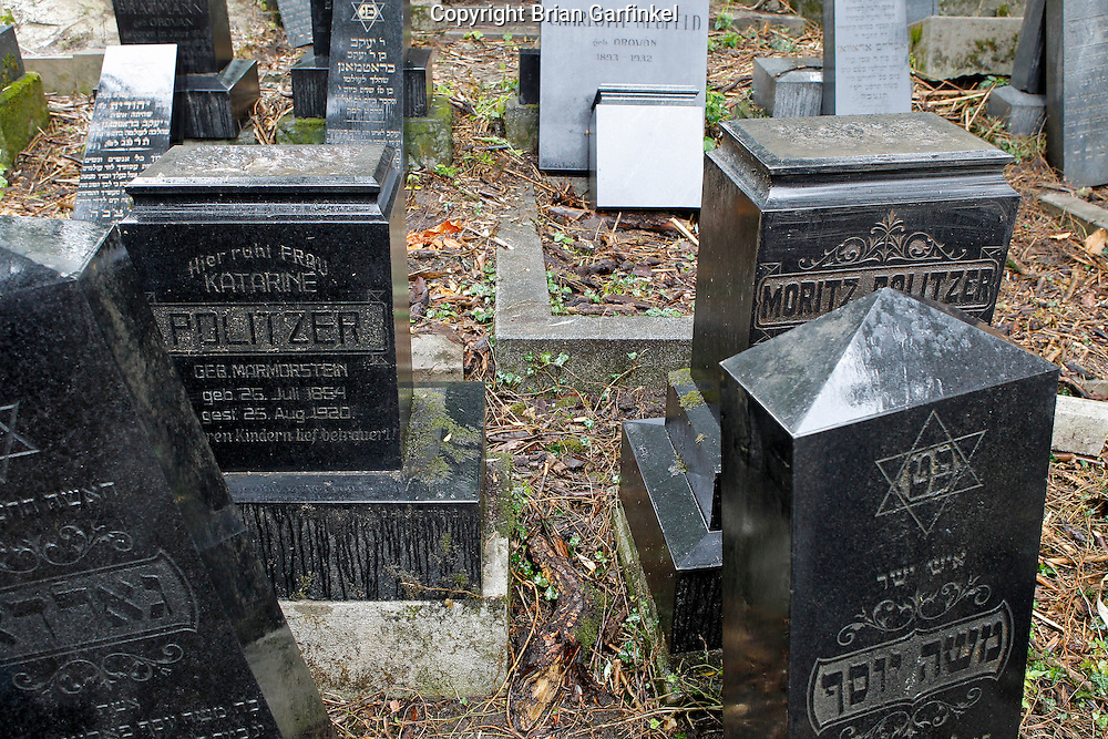 The grave stones of my Great-Great Grand parents in Povazka Bystrica, Slovakia on Sunday July 3rd 2011. (My Mom's (Judy), Father's (Otto), Dad's Parents) (Photo by Brian Garfinkel)