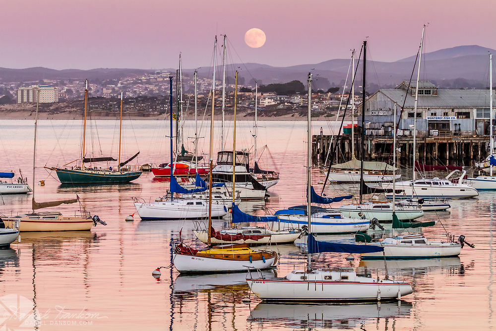 Moonrise over Monterey Harbor from the Recreation Trail along the waterfront.