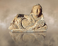 Etruscan sculpted Hellenistic style cinerary, funreary, urn cover with a women ,  National Archaeological Museum Florence, Italy .<br /> <br /> If you prefer to buy from our ALAMY PHOTO LIBRARY  Collection visit : https://www.alamy.com/portfolio/paul-williams-funkystock - Scroll down and type - Etruscan Florence - into LOWER search box. (TIP - Refine search by adding a background colour as well).<br /> <br /> Visit our ETRUSCAN PHOTO COLLECTIONS for more photos to download or buy as wall art prints https://funkystock.photoshelter.com/gallery-collection/Pictures-Images-of-Etruscan-Historic-Sites-Art-Artefacts-Antiquities/C0000GgxRXWVMLyc