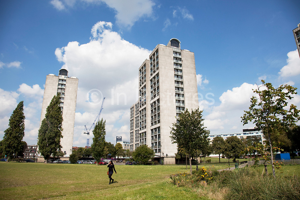 Tower blocks in Kennington, South London. This area is predominantly council housing and high rise apartment blocks. Much of this type of housing was built in the 1960s and 1970s as social housing designed to solve problems and stack society high. This by and large failed and flats such as these are seen as places rife with crime.