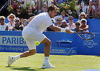 Tennis - 2017 Aegon Championships [Queen's Club Championship] - Day Two, Monday<br /> <br /> Men's Singles, Round of 32<br /> Feliciano Lopez [Spain] vs. Stan Wawrinka [Sui]<br /> <br />  Stan Wawrinka misses the ball completely on Centre Court <br /> <br /> COLORSPORT/ANDREW COWIE