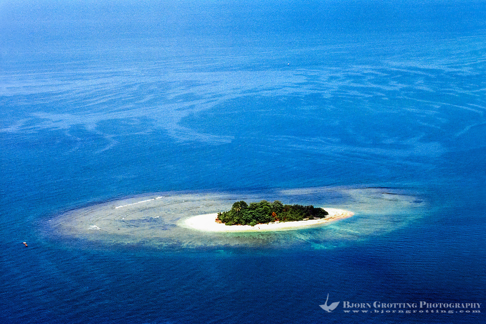 West Sumatra, Padang. Coral reef and a small island west of Padang (from helicopter).