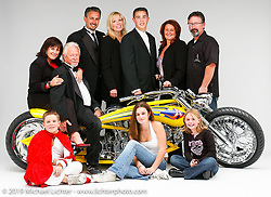 Arlen Ness posing with his family and his custom known as Top Banana that he built for his second Biker Build-Off. Dublin, CA. Photograph ©2004 Michael Lichter