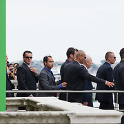 VENICE, ITALY - JUNE 03:  Israel President Shimon Peres leaves the Venice Biennale under heavy guard on June 3, 2011 in Venice, Italy.  This year's Biennale is the 54th edition and will run from June 4th until 27 November.