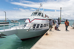 Departing Ferry At Anquilla Blowing Point Ferry Terminal