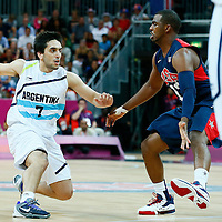06 August 2012: USA Chris Paul defends on Argentina Facundo Campazzo during 126-97 Team USA victory over Team Argentina, during the men's basketball preliminary, at the Basketball Arena, in London, Great Britain.
