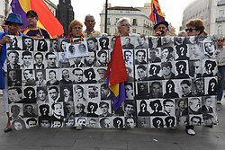 May 4, 2017 - Madrid, Spain - Protesters shout slogans and hold a banner with pictures of missing people during the Spanish dictatorship of Francisco Franco, as they take part in protest in Madrid against the impunity for the crimes committed in Spain between 1936 and 1975. (Credit Image: © Jorge Sanz/Pacific Press via ZUMA Wire)