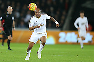 Andre Ayew of Swansea city in action.Barclays Premier league match, Swansea city v West Bromwich Albion at the Liberty Stadium in Swansea, South Wales  on Boxing Day Saturday 26th December 2015.<br /> pic by  Andrew Orchard, Andrew Orchard sports photography.