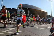 Action from the Cardiff Half Marathon 2016 in Cardiff, South Wales on Sunday 2nd October 2016. this years event had a record of almost 22,000 entries, a mixture of fun runners, elite athletes and club runners.<br /> pic by Andrew Orchard, Andrew Orchard sports photography.