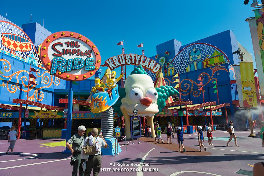 Krustyland Simpsons Ride Attraction In Universal Studios Theme Park, Los Angeles, California