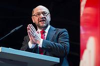 22 MAR 2017, BERLIN/GERMANY:<br /> Martin Schulz, SPD Parteivorsitzender und Spitzenkandidat der SPD zur Bundestagswahl, haelt eine Rede auf dem Neumitgliedertreffen der Berliner SPD, Festsaal Kreuzberg<br /> IMAGE: 20170322-02-103<br /> KEYWORDS: Martin Schulz, speech, Kanzlerkandidat, candidate