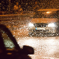 Cars cross the light attracted swarming of the mayfly (Ephoron virgo) returned to river Danube after four decades of absence in Tahitotfalu (some 32 km north from the capital city Budapest), Hungary on August 24, 2013. ATTILA VOLGYI