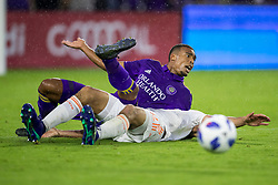 May 13, 2018 - Orlando, FL, U.S. - ORLANDO, FL - MAY 13: Orlando City forward Stefano Pinho (29) complains after being tripped up during the soccer match between the Orlando City Lions and Atlanta United on May 13, 2018 at Orlando City Stadium in Orlando, FL. (Photo by Joe Petro/Icon Sportswire) (Credit Image: © Joe Petro/Icon SMI via ZUMA Press)