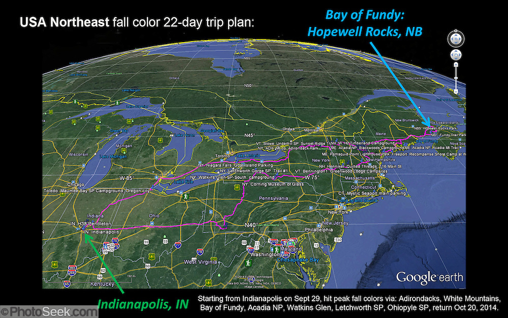 USA Northeast fall color 22-day trip plan: Starting from Indianapolis on Sept 29, hit peak fall colors via: Adirondacks, White Mountains, <br /> Bay of Fundy, Acadia NP, Watkins Glen, Letchworth SP, Ohiopyle SP, returning Oct 20, 2014. www.photoseek.com