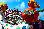 MEXICO, YUCATAN, QUINTANA ROO, TOURISM Cancun; Fiesta Amusement Park, statue of a brightly painted mermaid playing guitar