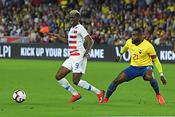 March 21, 2019 - Orlando, Florida, USA - US forward Gyasi Zardes (9) and Ecuador defender Gabriel Achiller (21) go for a ball during an international friendly between the US and Ecuador at Orlando City Stadium on March 21, 2019 in Orlando, Florida. .The US won the game 1-0...©2019 Scott A. Miller. (Credit Image: © Scott A. Miller/ZUMA Wire)