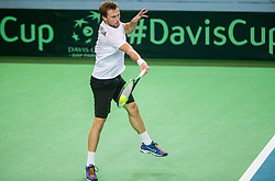 Tom Kocevar Desman of Slovenia playing singles during the Day 2 of Davis Cup 2018 Europe/Africa zone Group II between Slovenia and Poland, on February 4, 2018 in Arena Lukna, Maribor, Slovenia. Photo by Vid Ponikvar / Sportida