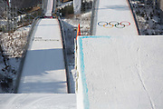 The big air jump at the Pyeongchang 2018 Winter Olympics on February 21st 2018, at the Alpensia Ski Jumping Centre in Pyeongchang-gun, South Korea