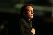 Sam Baird of England looks on during his 1st round match against John Higgins of Scotland.  Coral Welsh Open Snooker 2017, day 1 at the Motorpoint Arena in Cardiff, South Wales on Monday 13th February 2017.<br /> pic by Andrew Orchard, Andrew Orchard sports photography.