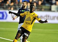 Fotball Herrer Tippeligaen 2014<br /> Marienlyst Stadion Gamle Gress  30.3.2014 Seriestart<br /> <br /> Strømsgodset vs Start<br /> <br /> Resultat <br /> <br /> Foto: Robert Christensen Digitalsport<br /> <br /> Strømsgodset Mounir Hamoud<br /> <br /> Start herjubler Asante for sin første scoring for dagen