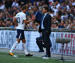 August 5, 2017 - London, England, United Kingdom - Tottenham Hotspur's Harry Kane shanks hands with Tottenham Hotspur manager Mauricio Pochettino .during the Friendly match between Tottenham Hotspur and Juventus at Wembley stadium, London, England on 5 August 2017. (Credit Image: © Kieran Galvin/NurPhoto via ZUMA Press)