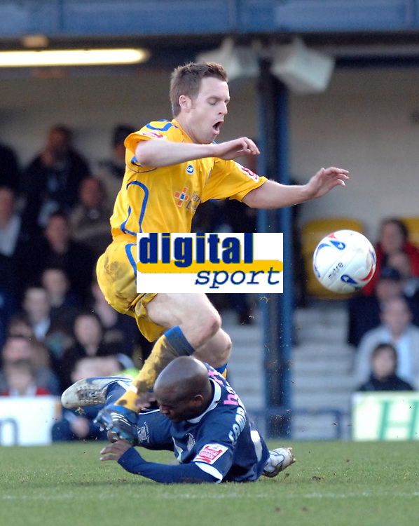 Photo: Ashley Pickering.<br />Southend United v Leicester City. Coca Cola Championship. 03/03/2007.<br />Alan Maybury of Leicester (yellow) is tackled by Jamal Campbell-Ryce of Southend