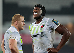 Saracens' Maro Itoje feels the pain<br /> <br /> Photographer Simon King/Replay Images<br /> <br /> European Rugby Champions Cup Round 5 - Ospreys v Saracens - Saturday 13th January 2018 - Liberty Stadium - Swansea<br /> <br /> World Copyright © Replay Images . All rights reserved. info@replayimages.co.uk - http://replayimages.co.uk
