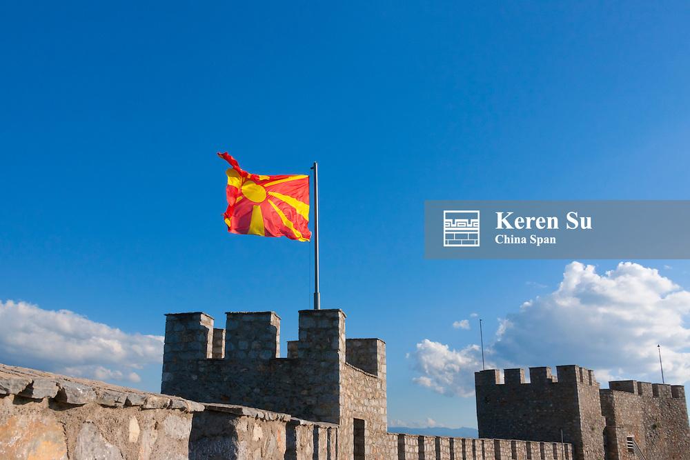 Tsar Samuil's Fortress with national flag, Ohrid, Republic of Macedonia