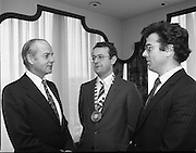 Institute of Chartered Secretaries and Administrators Christmas Lunch..1982..22.12.1982..12.22.1982..22nd December 1982..The annual Christmas luncheon of the Institute of Chartered Secretaries and Administrators was held at Jurys Hotel,Ballsbridge,Dublin.The Guest speaker at the luncheon was Senator John Robb...Picture shows Senator John Robb(Left) who was guest speaker at the luncheon speaking to Mr M.G.Moloney,Institute Chairman and Mr Vincent Clifford,Secretary..Mr Robb was nominated by both Fianna Fail (16 & 18 Seanad) and Fine Gael (17 Seanad) led Governments..