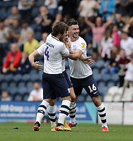Preston North End's Alan Browne (centre) celebrates with team-mates Ben Pearson (left) and Jordan Storey after scoring his side's second goal with a looping effort from range<br /> <br /> Photographer Rich Linley/CameraSport<br /> <br /> The EFL Sky Bet Championship - Preston North End v Bolton Wanderers - Saturday September 1st 2018 - Deepdale - Preston<br /> <br /> World Copyright © 2018 CameraSport. All rights reserved. 43 Linden Ave. Countesthorpe. Leicester. England. LE8 5PG - Tel: +44 (0) 116 277 4147 - admin@camerasport.com - www.camerasport.com