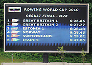 Bled, SLOVENIA,  Men's double Sculls Final.  Electronic Score board recording the results of the men's double scull final.1st FISA World Cup. Third day. Rowing Course. Lake Bled.  Sunday  30/05/2010  [Mandatory Credit Peter Spurrier/ Intersport Images]