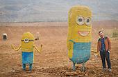Straw art in fields