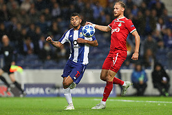 November 6, 2018 - Porto, Porto, Portugal - Porto's Mexican forward Jesus Corona (L) vies with Benedikt Howedes defender of FC Lokomotiv Moscow (L) during the UEFA Champions League, match between FC Porto and FC Lokomotiv Moscow, at Dragao Stadium in Porto on November 6, 2018 in Porto, Portugal. (Credit Image: © Dpi/NurPhoto via ZUMA Press)