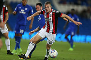 Paul Coutts of Sheffield United in action. EFL Skybet championship match, Cardiff city v Sheffield Utd at the Cardiff City Stadium in Cardiff, South Wales on Tuesday 15th August 2017.<br /> pic by Andrew Orchard, Andrew Orchard sports photography.