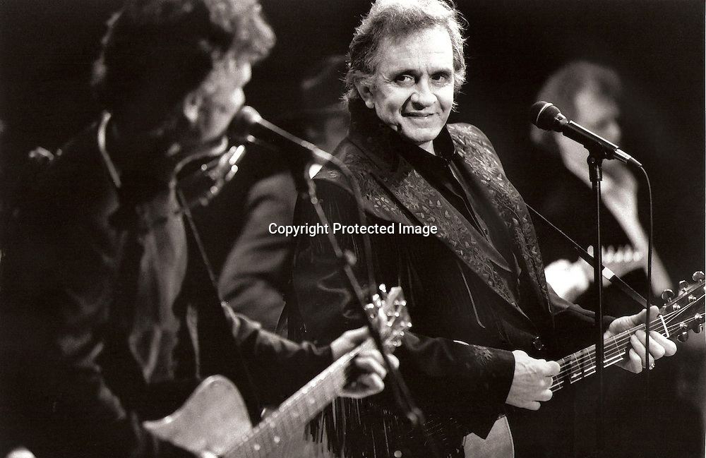 Kris Kristofferson and Johnny Cash perform at the University Concert Hall ,Limerick in  1993..Photograph by Eamon Ward