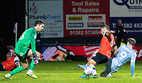 Luton Town's Matty Pearson scores an own goal under pressure from Leeds United's Patrick Bamford<br /> <br /> Photographer Alex Dodd/CameraSport<br /> <br /> The EFL Sky Bet Championship - 191123 Luton Town v Leeds United - Saturday 23rd November 2019 - Kenilworth Road - Luton<br /> <br /> World Copyright © 2019 CameraSport. All rights reserved. 43 Linden Ave. Countesthorpe. Leicester. England. LE8 5PG - Tel: +44 (0) 116 277 4147 - admin@camerasport.com - www.camerasport.com