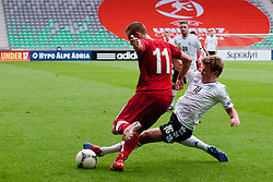 Vincent Rabiega of Poland and Maximilian Meyer of Germany during the UEFA European Under-17 Championship Group A semifinal match between Germany and Poland on May 13, 2012 in SRC Stozice, Ljubljana, Slovenia. Germany defeated Poland 1:0. (Photo by Matic Klansek Velej / Sportida.com)