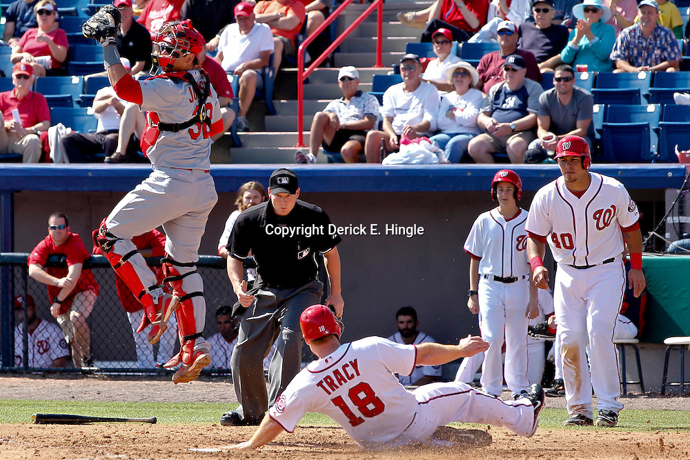 Mar 8, 2013; Melbourne, FL, USA; Washington Nationals left fielder Micah Owings hits a solo homerun to lead off the bottom of the ninth inning of a spring training game at Space Coast Stadium. Mandatory Credit: Derick E. Hingle-USA TODAY Sports